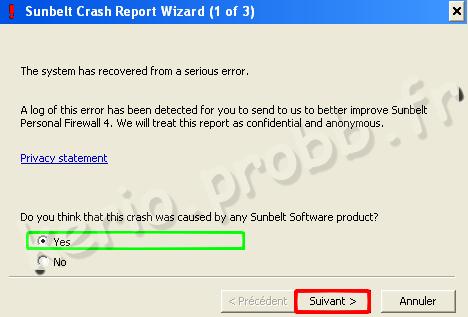 générer un rapport de crash Sunbelt kerio firewall