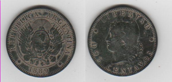 Argentina, 2 centavos, 1889 Argent11