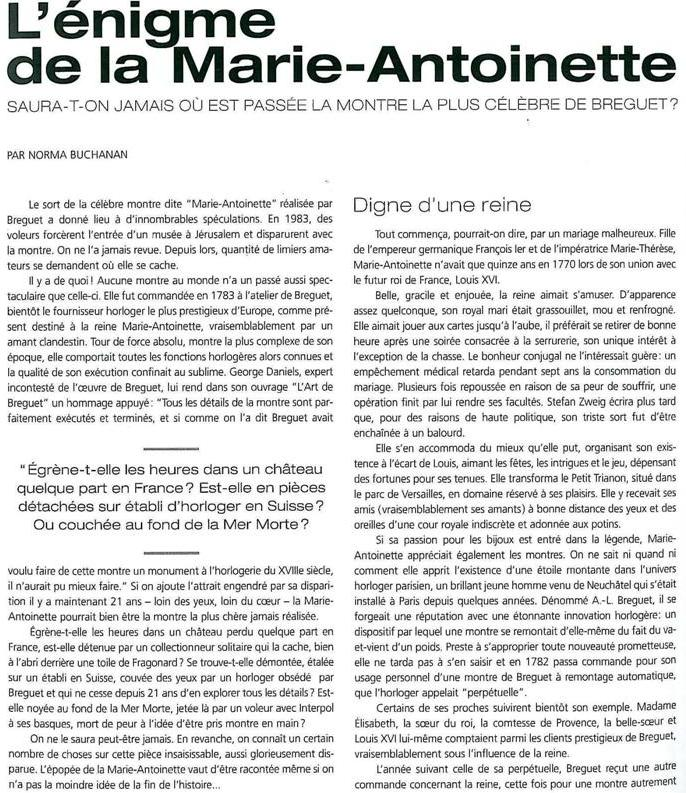"""Petite histoire de la Breguet """"Marie Antoinette"""" B112"""