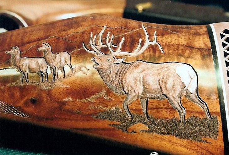 Sculpture sur crosse - finition du bois Elk-gu10