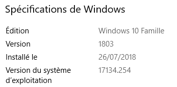 Windows 10 version 1803 mise à jour KB KB4346783 Kb10