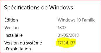 Mise à jour cumulative KB4284848 windows 10 version 1803 Maj10