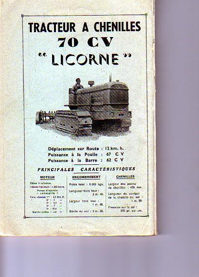 publicités du tracteur LICORNE Chenil10