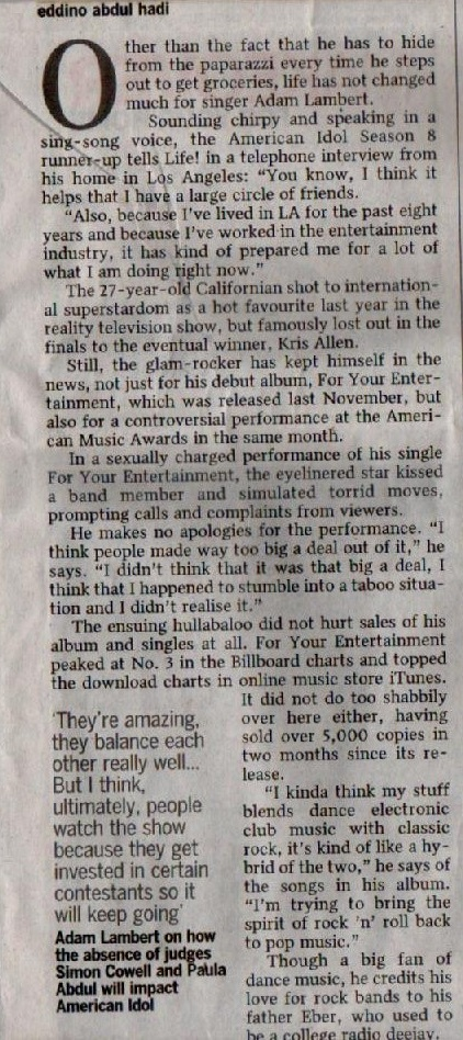 Adam Lambert featured in The Straits Times (22/01/2010)!! All_gl11