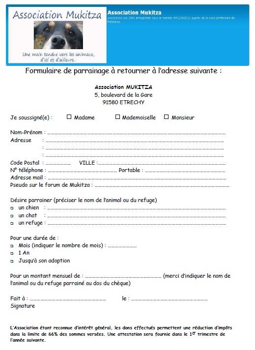 Annonce : Formulaire à retourner Parrai12