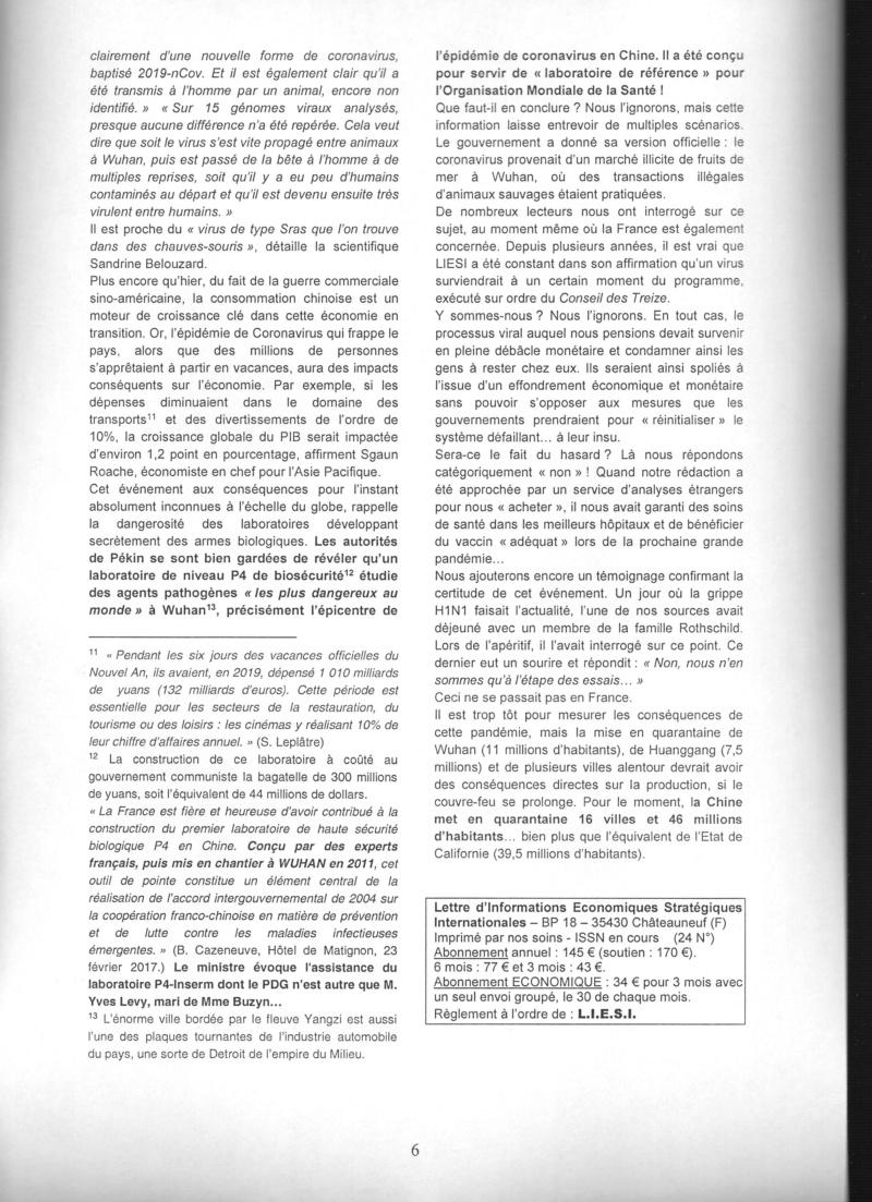 """Les étranges """"coïncidences"""" du Coronavirus : une arme qui tombe à pic dans l'agenda mondialiste... hasard ou calendrier occulte ? Liesi_10"""