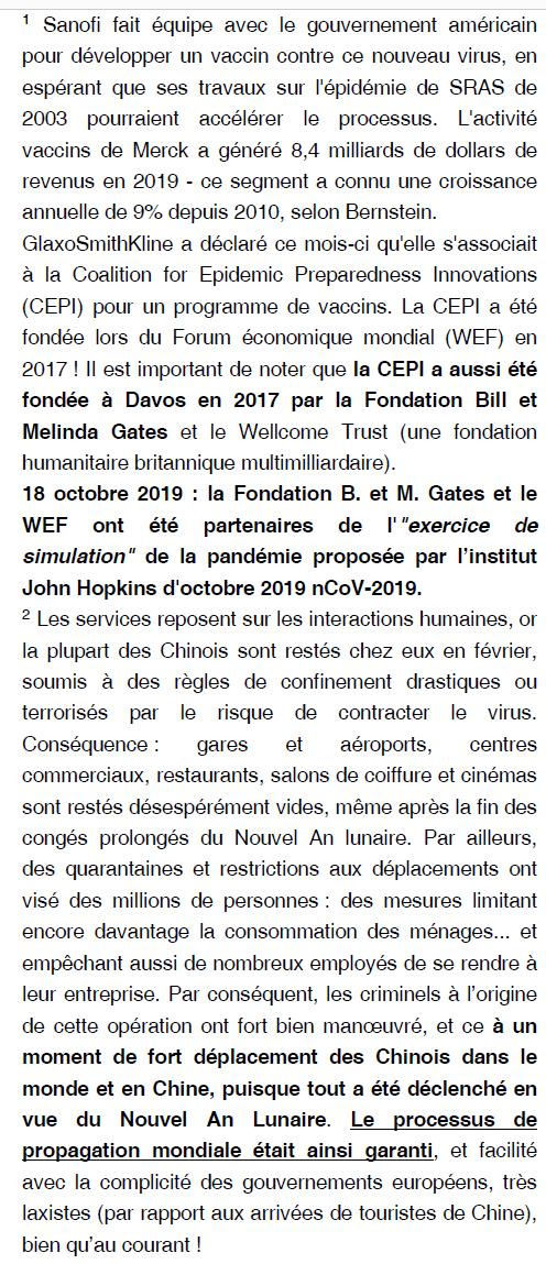 """Les étranges """"coïncidences"""" du Coronavirus : une arme qui tombe à pic dans l'agenda mondialiste... hasard ou calendrier occulte ? Liesi_14"""