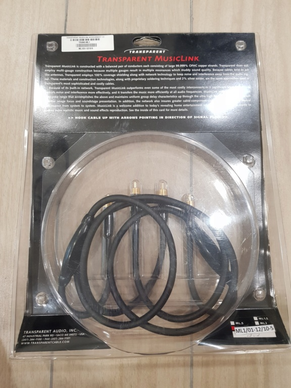 Used Transparent Audio MusicLink RCA Interconnect Cable (1 Meter) SOLD 20180721