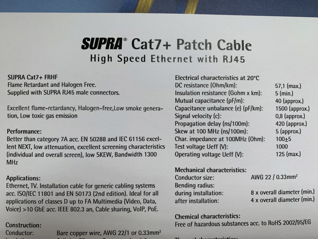 Supra Cat7+ Flame Retardant Ethernet Cable(2 Meter) Price Reduced Img_3711