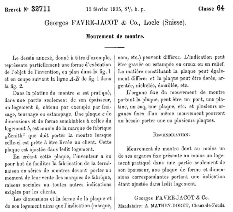 Les brevets déposés par G.Favre-Jacot Image111