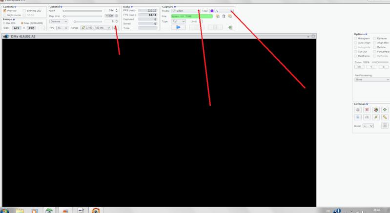 logiciel fire capture avec DMK Captur10