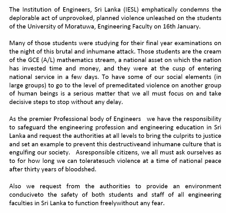 IESL, Premier Professional Body for engineers in Sri Lanka Has Condemn Unethical Attck on Moratuwa Engineering Students Untitl10