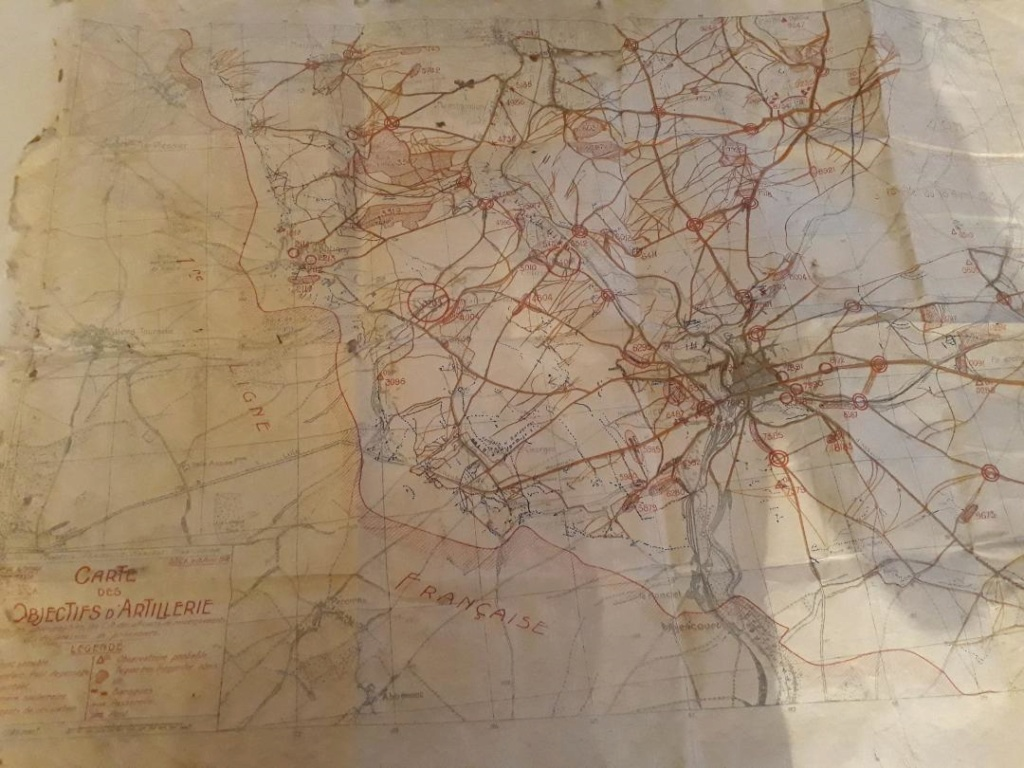 Carte des objectifs d' artillerie 1918  Carto310