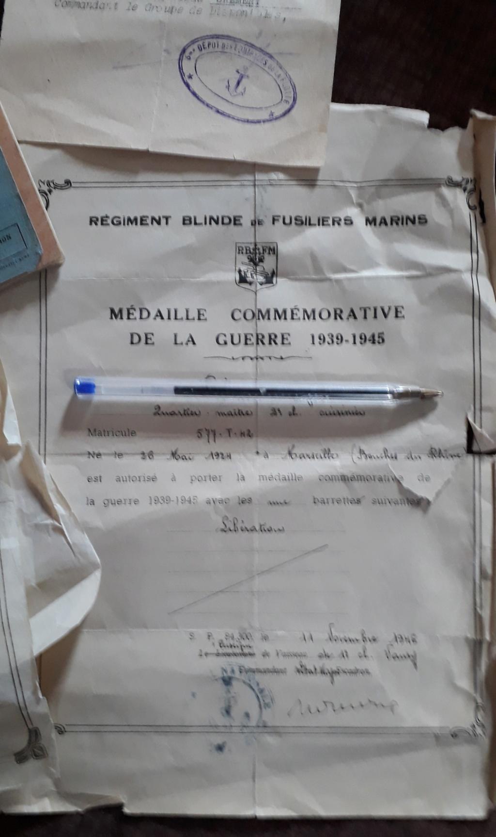 Papiers Marine...Regiment Blindé Fusiliers Marins Rbfm110