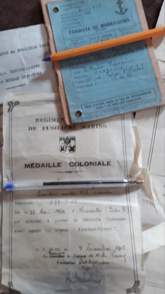 Papiers Marine...Regiment Blindé Fusiliers Marins Rbfm210