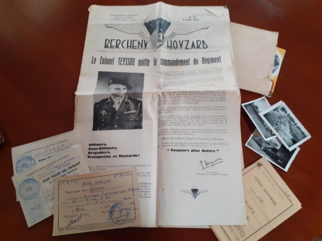 Papiers 1° regiment de hussards parachutiste 1954 Rhp210