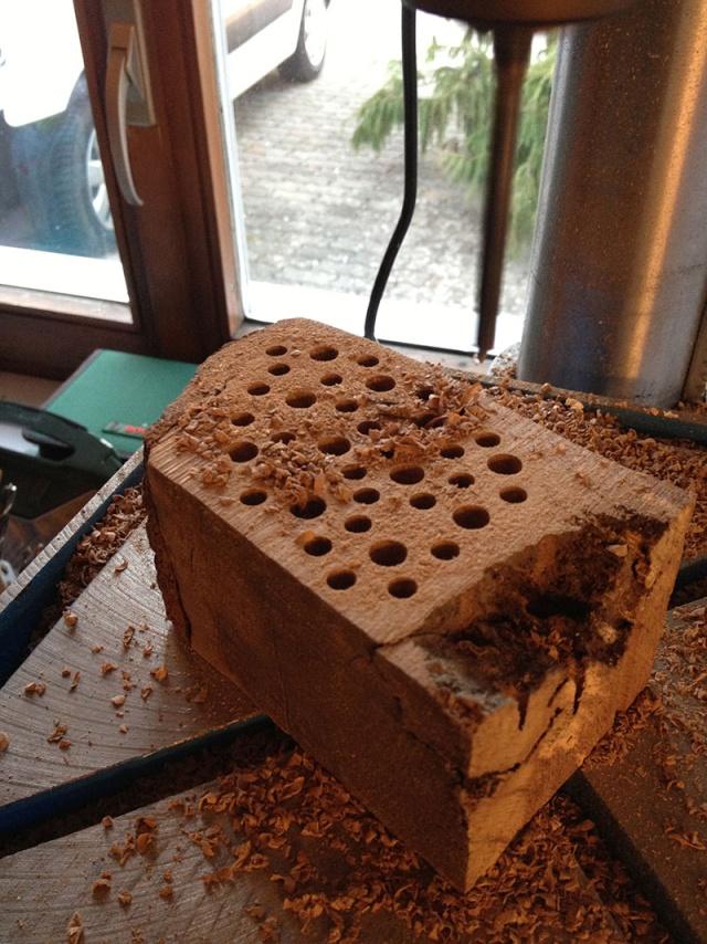 Un hôtel à abeilles sauvages Trous10