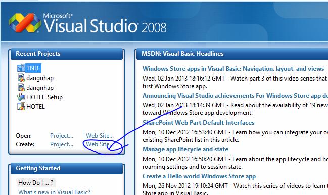 Tạo một Website với ASP.NET trên VS 2008 Captur12