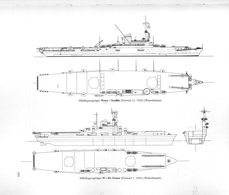 Le Flugzeugträger B,le sister-ship du Graf zeppelin inachevé Kriegs13
