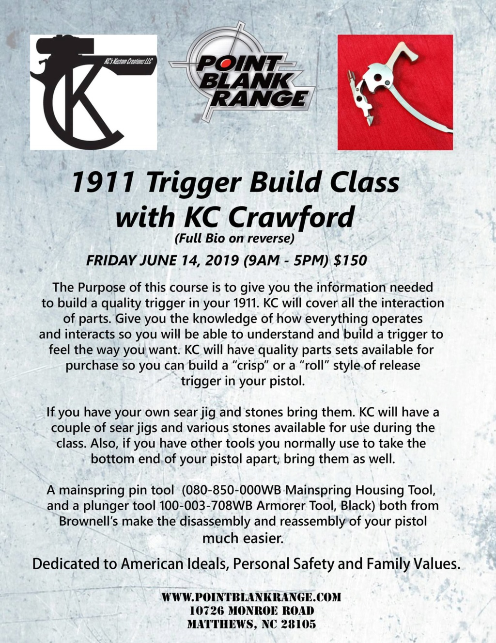 KC Crawford 1911 trigger build class-June 14, 2019 D7b9d910