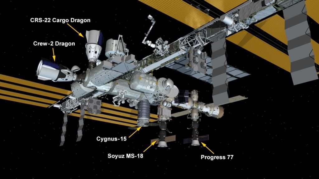 Configuration de juin 2021 de l'ISS (quelles protections contre les débris?) Facebo10