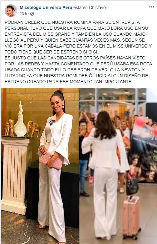 Jessica Newton saboteó a Romina Lozano en Miss Universo 2018 según página de Facebook Missologo Universo Perú Romina10
