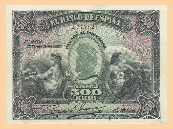 500 ptas 1907 Medallón 50010