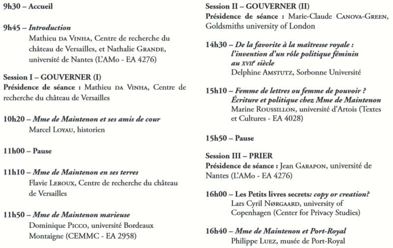 Château de Versailles : Colloque Madame de Maintenon  Colloq14