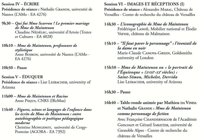 Château de Versailles : Colloque Madame de Maintenon  Colloq15