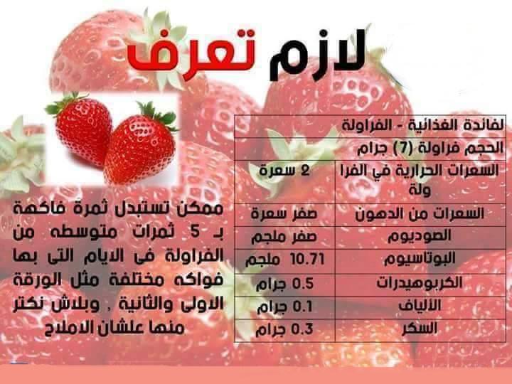 الفوائد الغذائية للفراولة  1011