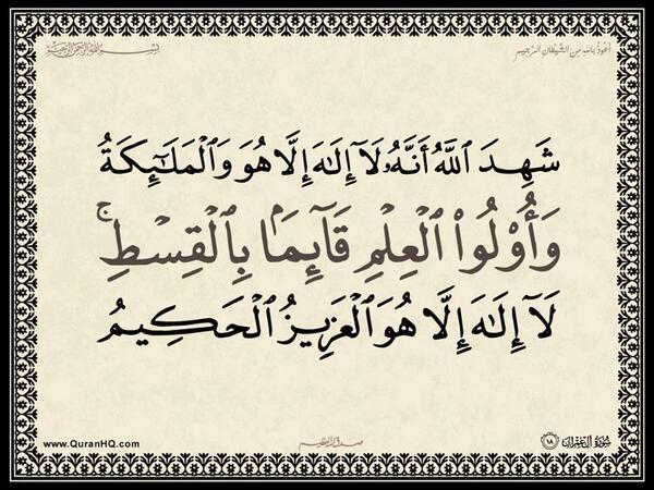 الآية 18 من سورة آل عمران الكريمة المباركة Aeoo_118