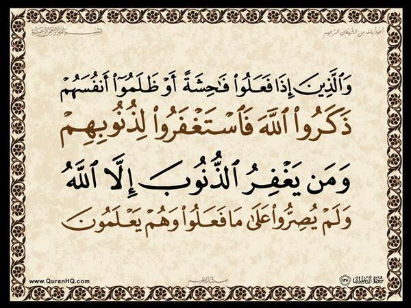 الآية 135 من سورة آل عمران الكريمة المباركة Aeoo_143