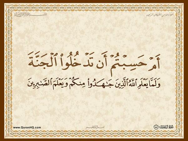 الآية 142 من سورة آل عمران الكريمة المباركة Aeoo_150