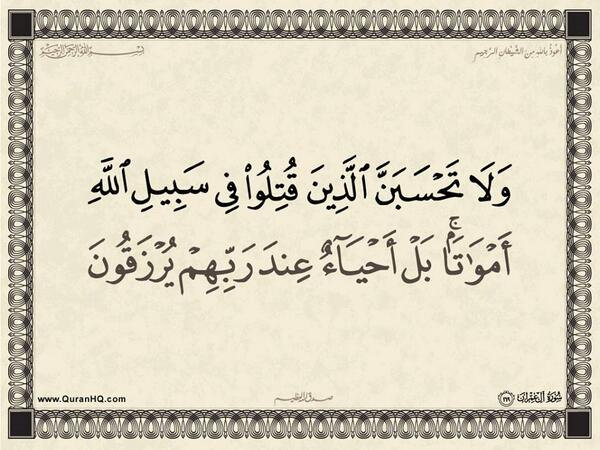 الآية 169 من سورة آل عمران الكريمة المباركة Aeoo_177