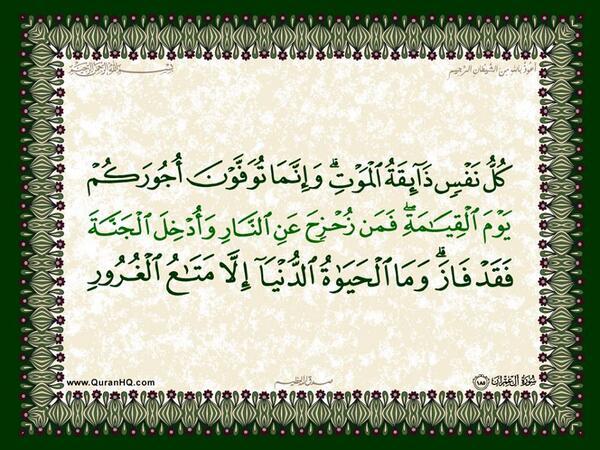 الآية 185 من سورة آل عمران الكريمة المباركة Aeoo_193