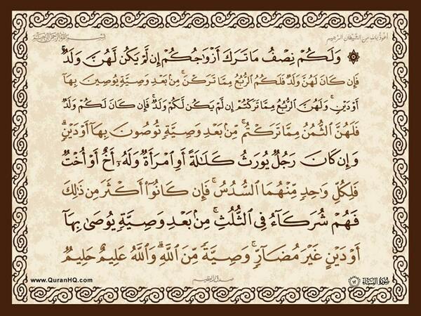 الآية 12 من سورة النساء الكريمة المباركة Aeoo_201