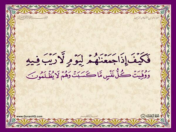 الآية 25 من سورة آل عمران الكريمة المباركة Aeoo_215