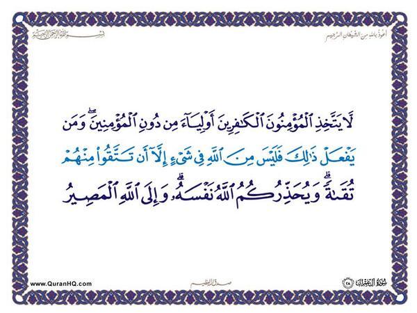 الآية 28 من سورة آل عمران الكريمة المباركة Aeoo_218