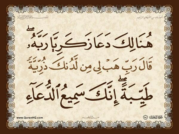 الآية 38 من سورة آل عمران الكريمة المباركة Aeoo_319