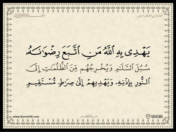 الآية رقم 16 من سورة المائدة الكريمة المباركة Aeoo_a25