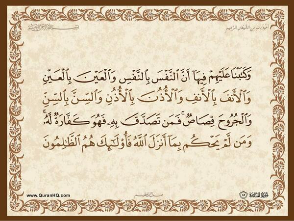 الآية رقم 45 من سورة المائدة الكريمة المباركة Aeoo_a54