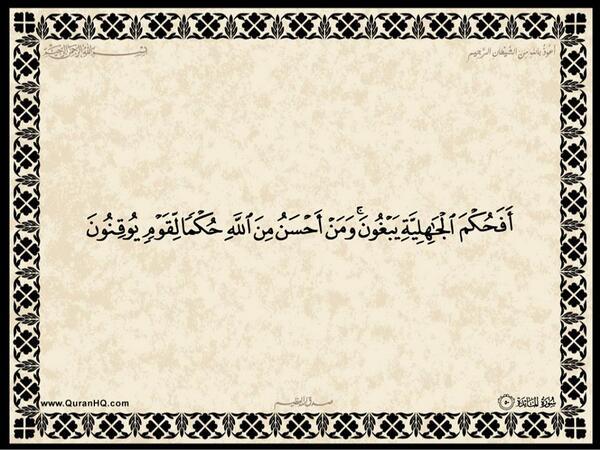 الآية رقم 50 من سورة المائدة الكريمة المباركة Aeoo_a59