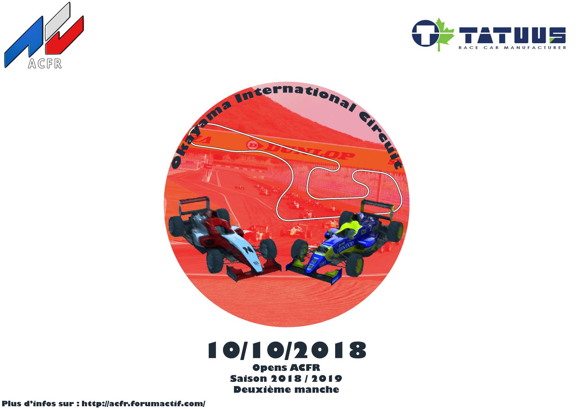 [Open ACFR] Manche 2 saison 2018/2019 - Tatuus FA01 - Okayama International Circuit Affich11