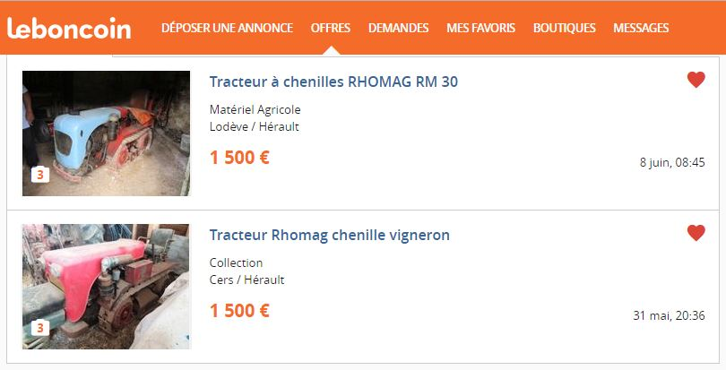 (vends) motoculteur staub PP4B et chenillard Rhomag RM 30 410