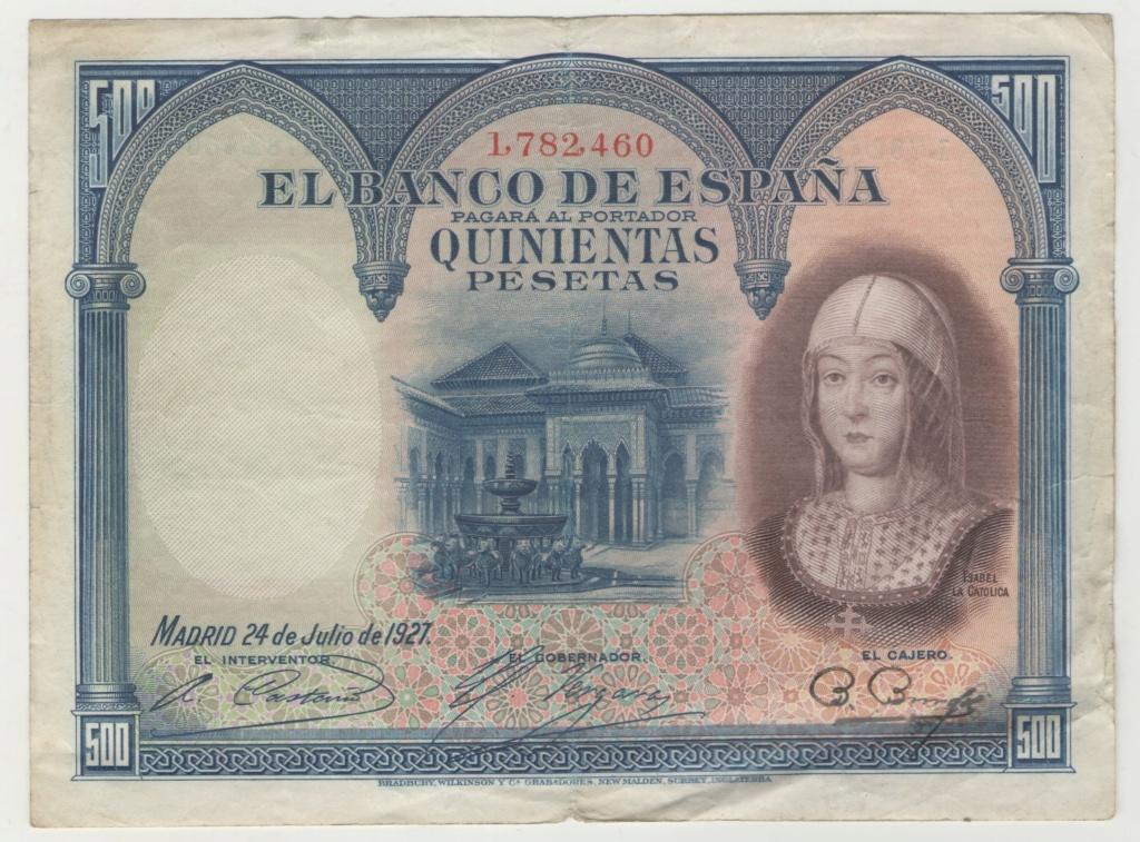 500 Pesetas 1927 Isabel la Católica Esczen10