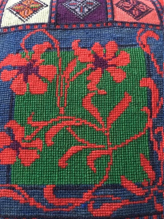 Tapis laine broderie sur canevas XXème 510
