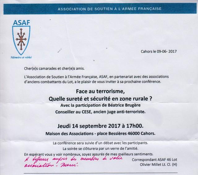 """ASAF du LOT: """"FACE AU TERORISME, quelle sécurité en zone rurale? jeudi 14 septembre 2017 à 17h00 - Avec la participation de Béatrice Brugère Asaf_i10"""