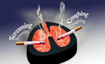 """"""" 1 Cigarette fumée = Moins 11 minutes de votre âge/an Tabbag10"""