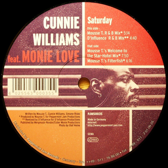 Cunnie Williams - Saturday (Mousse T.'s Welcome To The Star-Hotel Mix) PMJ Rec 1998 Cunnie10