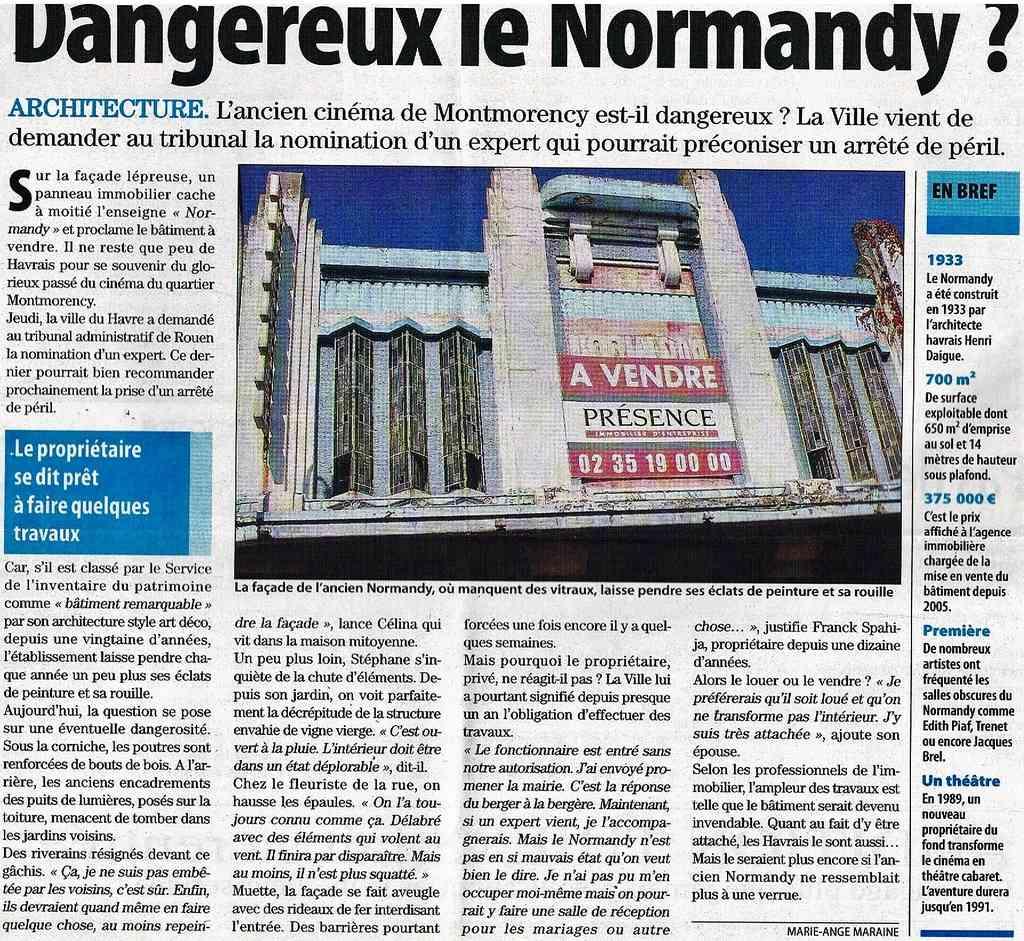 """Cinéma """" Le Normandy """" au Havre : Projet de Reprise 2009-011"""